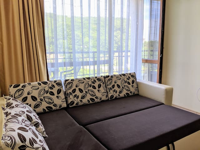 The pull out sofa converts into a US full-size bed. There is a bedding compartment under the left cushion.