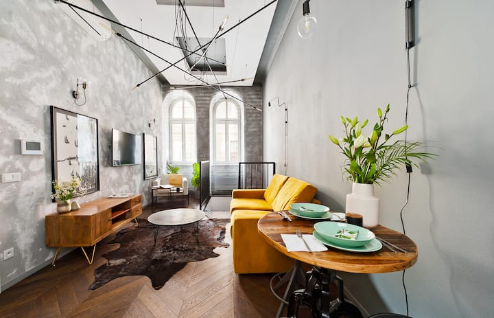 Unique interiors and urban design in historical townhouse with gym&sauna