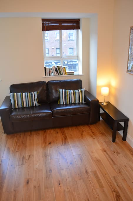 Comfy sofa, with bookswap and high speed internet