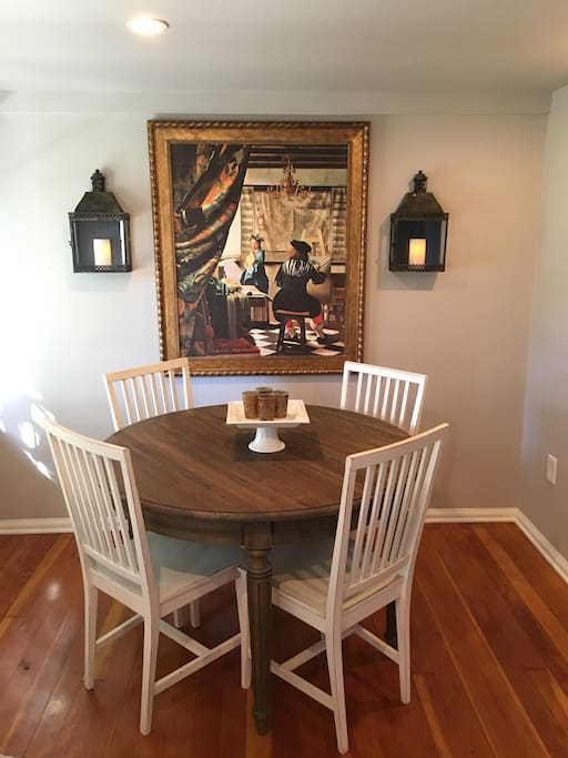 Dining room with European style furniture and Artwork