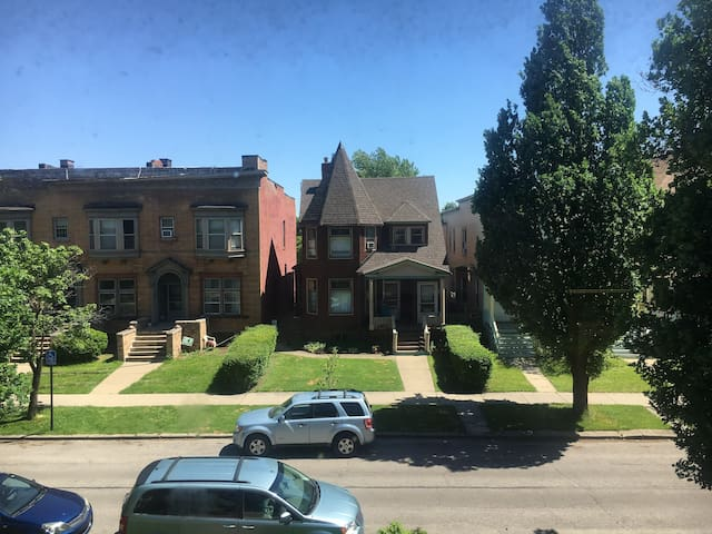 This is the view of the street from the front windows upstairs.