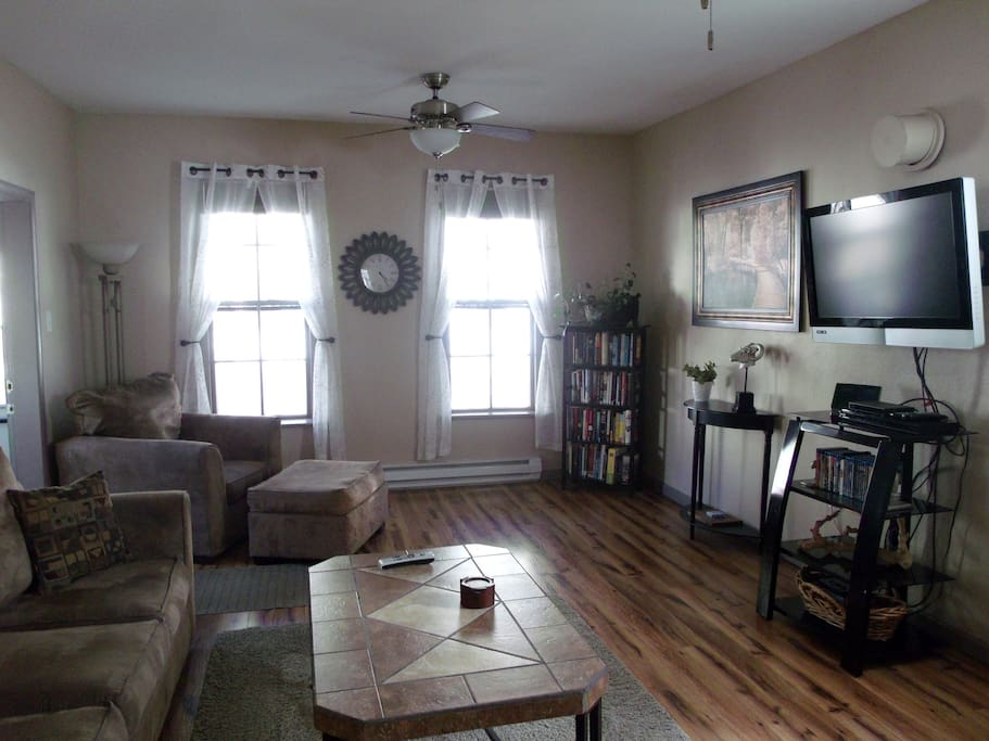 Living Room offers a library of books, Blu Ray with selection of movies.