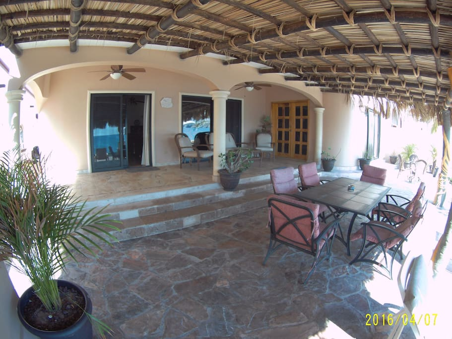 Looking into the palapa area and its great furniture and lounging areas.