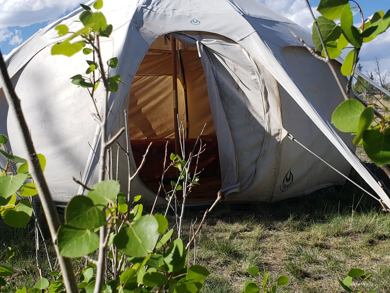 Our largest yurt at 11-Mile catching the evening rays of sunshine.