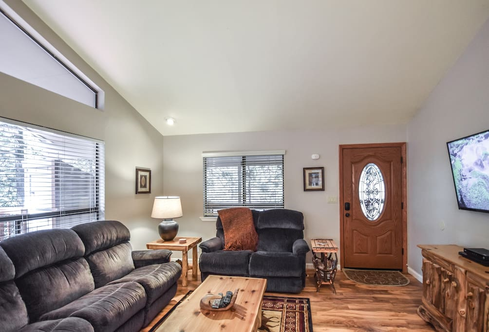 """Large 55"""" flat screen TV in upstairs Living Area"""
