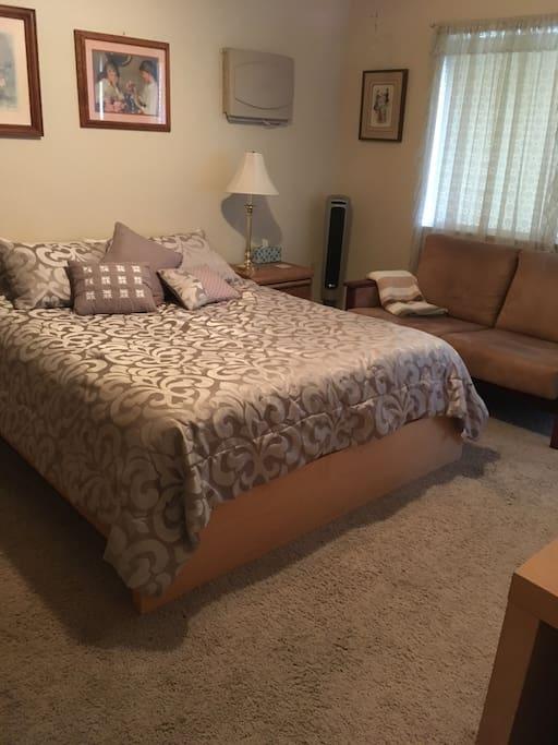 Queen Bed. Love Seat