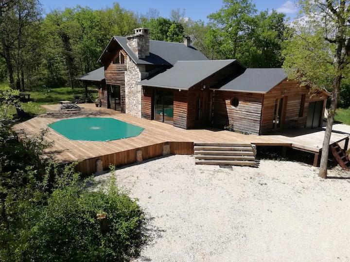 Chambre avec terrasse et piscine du P'tit Bois