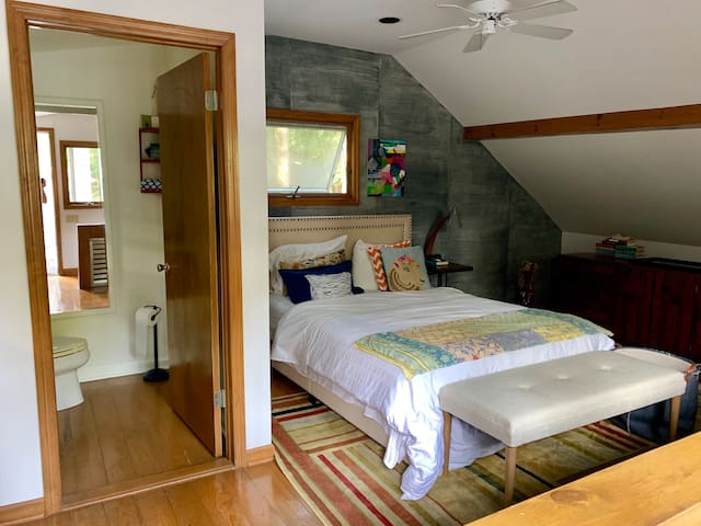 Loft bedroom with 1/2 bath and small deck
