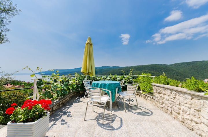 Three Bedroom Apartment, in Rabac, Terrace