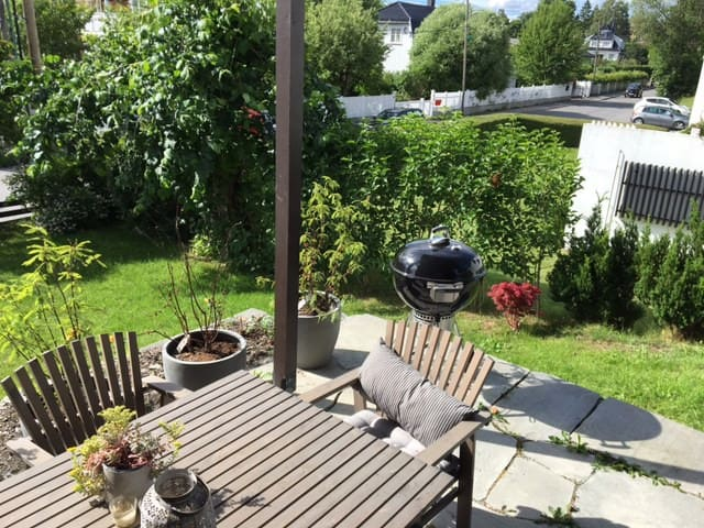 Private pation with grill and table for four with nice view and afternoon sun.