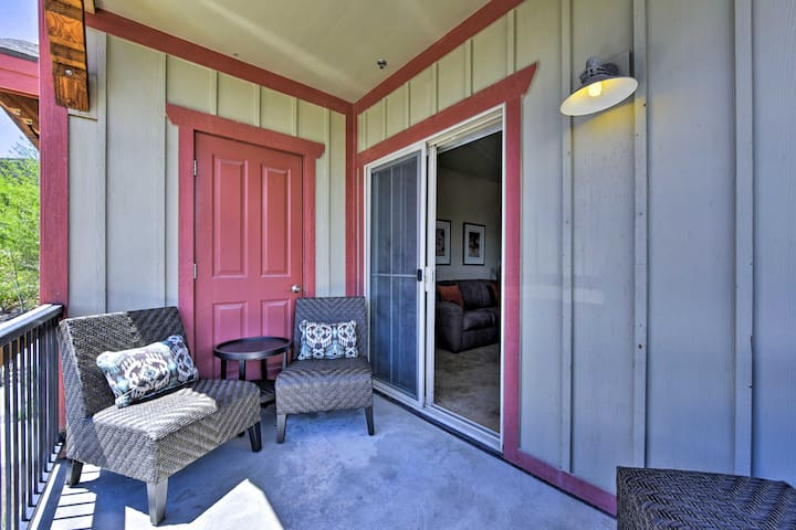 The furnished porch is the ideal spot to wind down after a fun day.