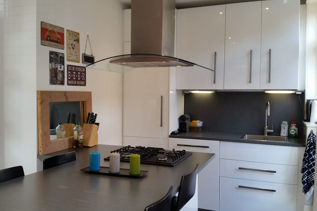 Brand new kitchen with large bar, dishwasher, oven and music facilities