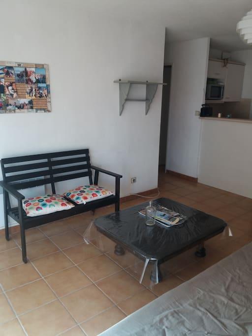 L 'espace de vie avec 1 canapé double(160) une table basse et un espace repas