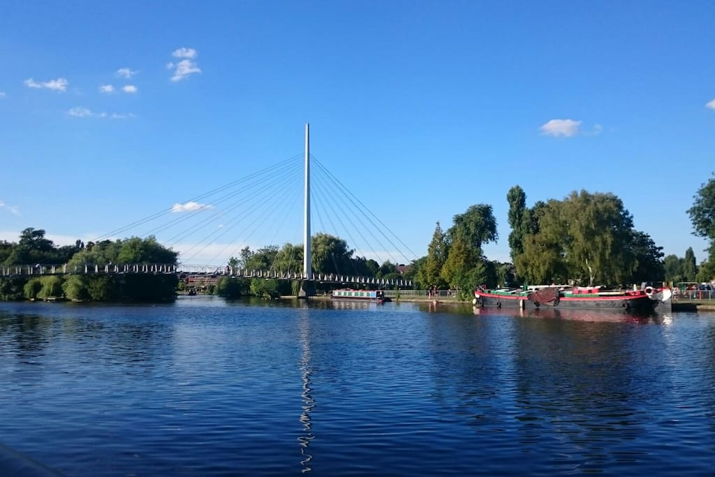 Caversham Footbridge, allows 10 minute walk to Reading Train station, plus some great views of the river!