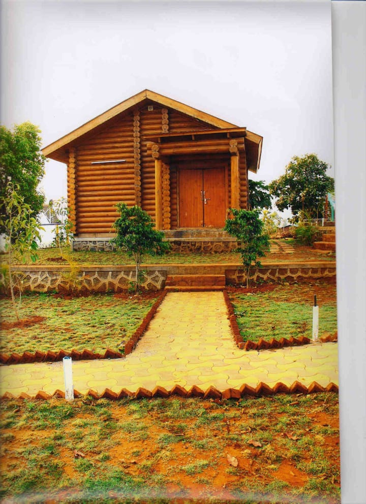 1 RK Wooden Loghouse Cottage With Swimming Pool