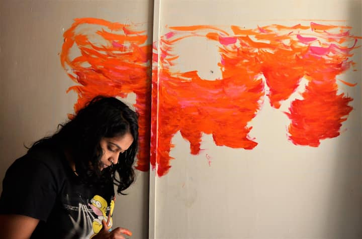 While Painting a Wall Mural
