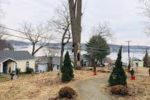 Lake view from front yard and entry way