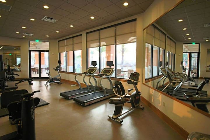 Gym in clubhouse, steps away and used for free.