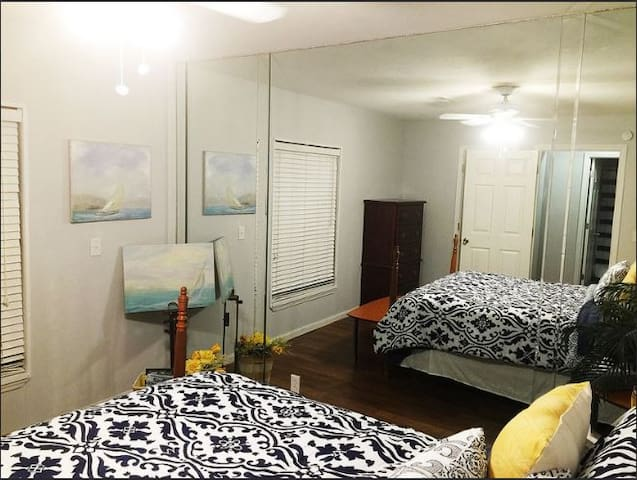 Lower Bedroom with full wall mirror