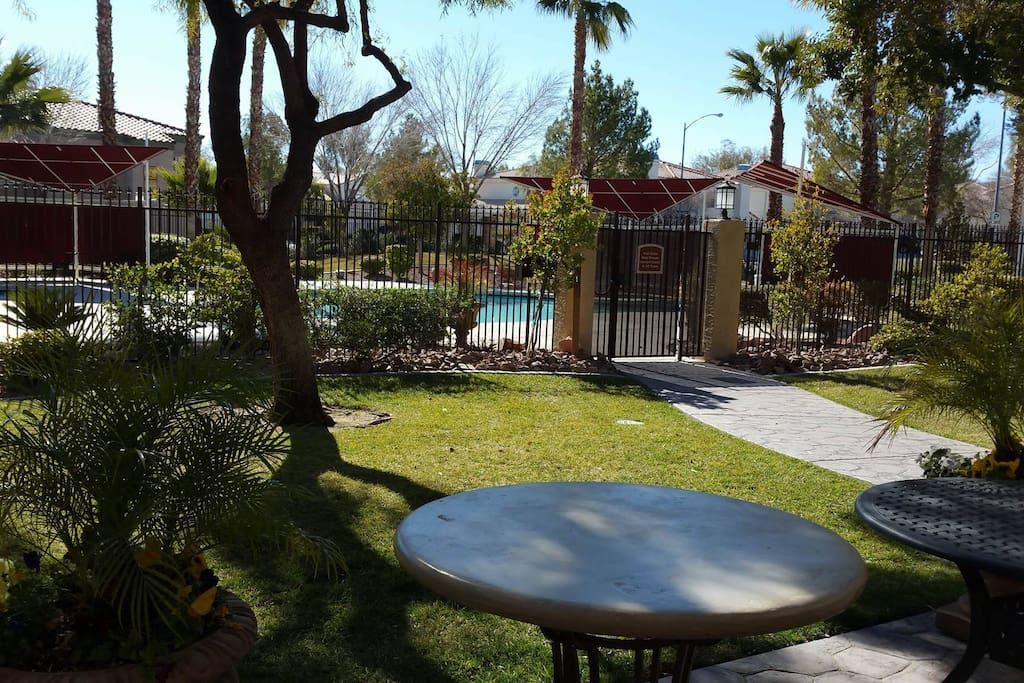 Great lush pool area and weight room and club house!
