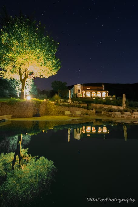 Garden and borgo lit by the stars