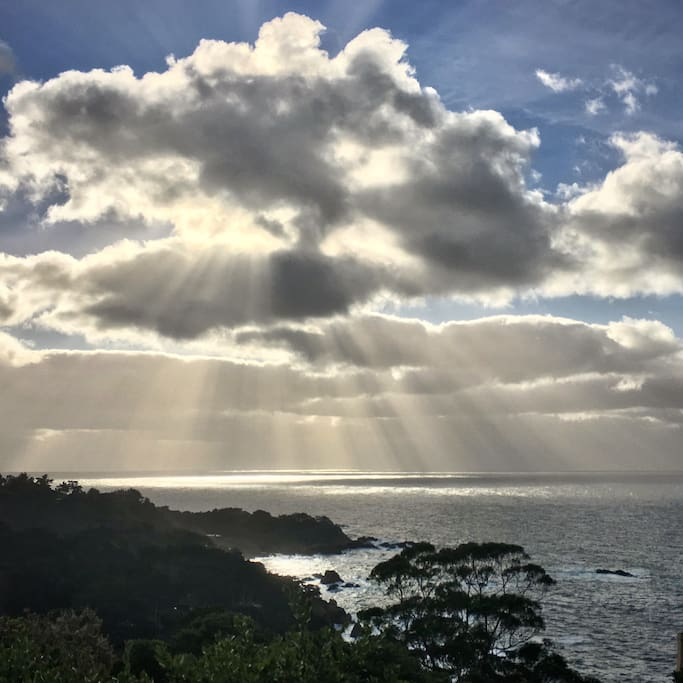 Clouds and sun rays from the deck