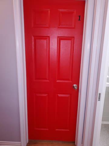 Bedroom #1 with keyed door.