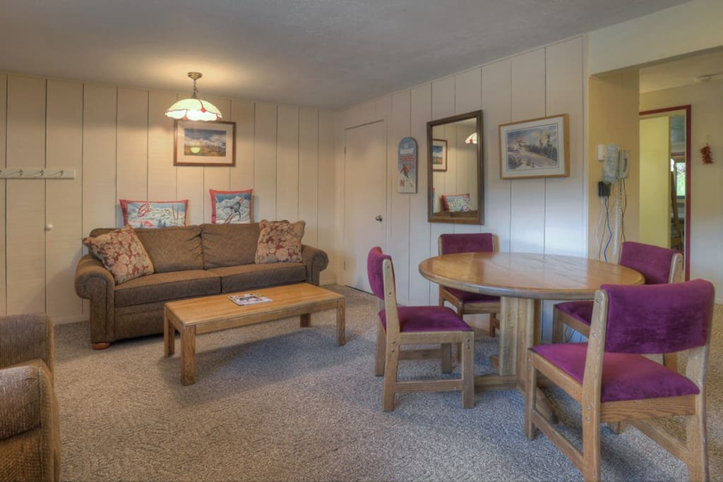 Living Room w Wood Stove Fireplace and Full Sleeper Sofa