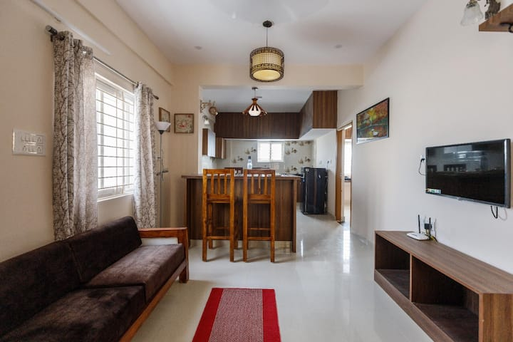 2BHK for 6 near RevaCollege-AC-WIFI-PrivateKitchen
