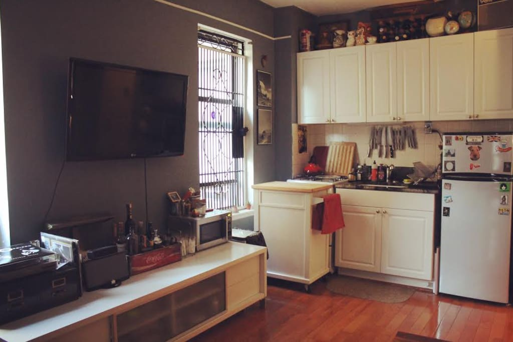 Kitchen view in an open, sunlit space