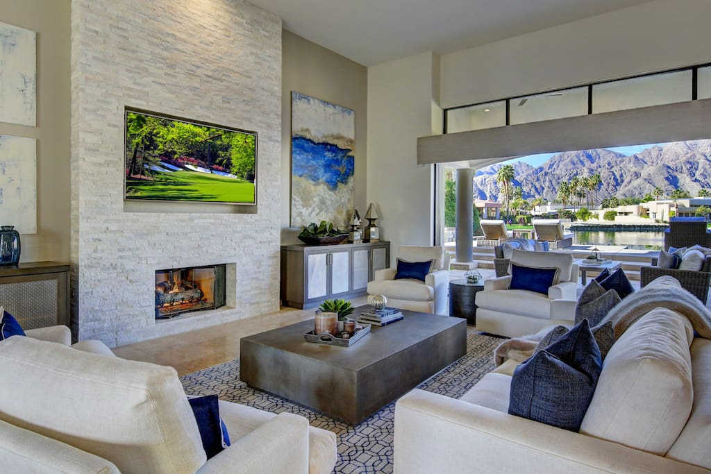 Custom and designer furniture throughout the home.