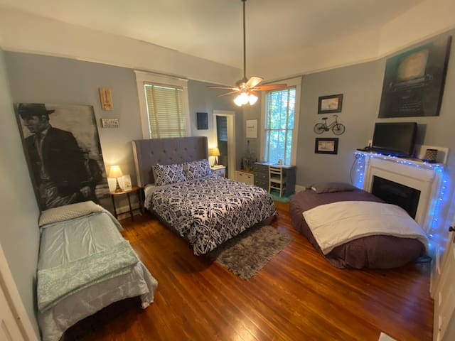 This photo represents what the room will look like if you require all three sleeping spaces to meet your accommodation needs. The twin bed is topped with memory foam and we've had countless guests say they fell in love with the bean bag sleeper!
