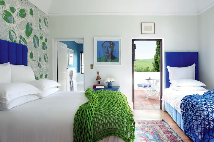 Bedroom  2 in the Manor House - The Blue Room can sleep up to 3 guests.