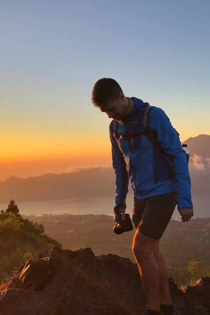 Walking to the crater of mount batur