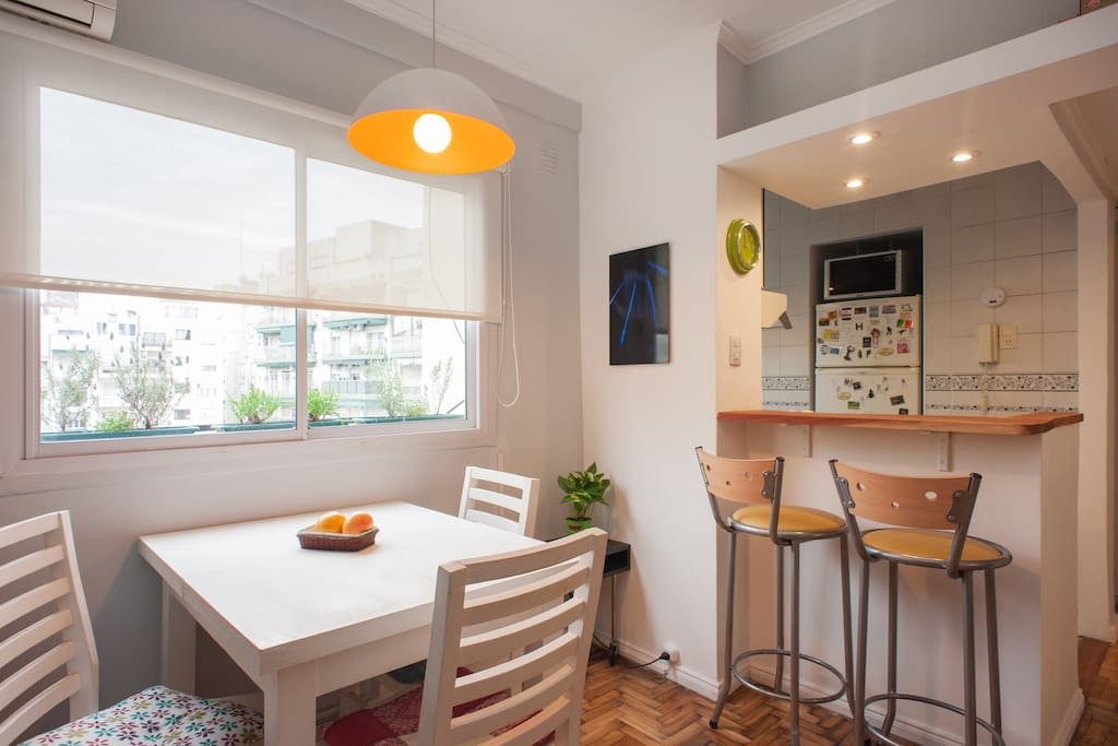 Dining, bar and window to the core of the block