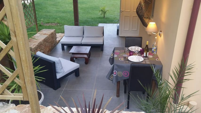 terrace with garden lounge and outdoor dining
