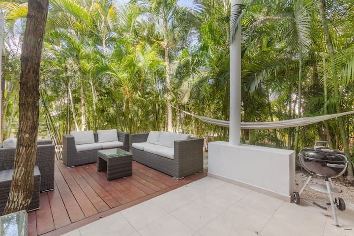Our beautiful backyard with direct access to one of the  swimming pools
