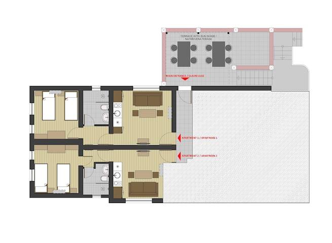 Layout Apart AS apartment1+ApartAS apartment2