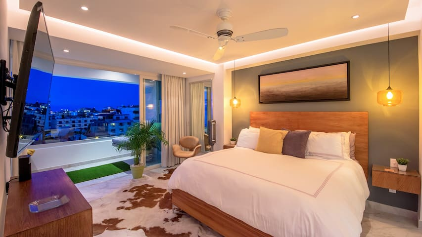 Master Bedroom off the terrace with Ocean and City views