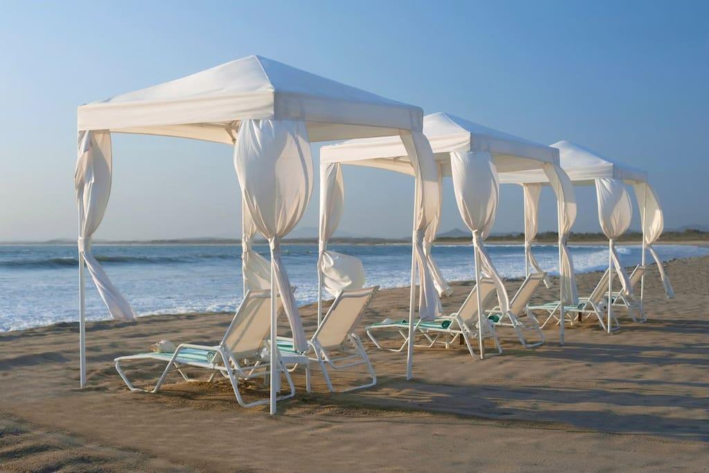 Private cabañas on the beach