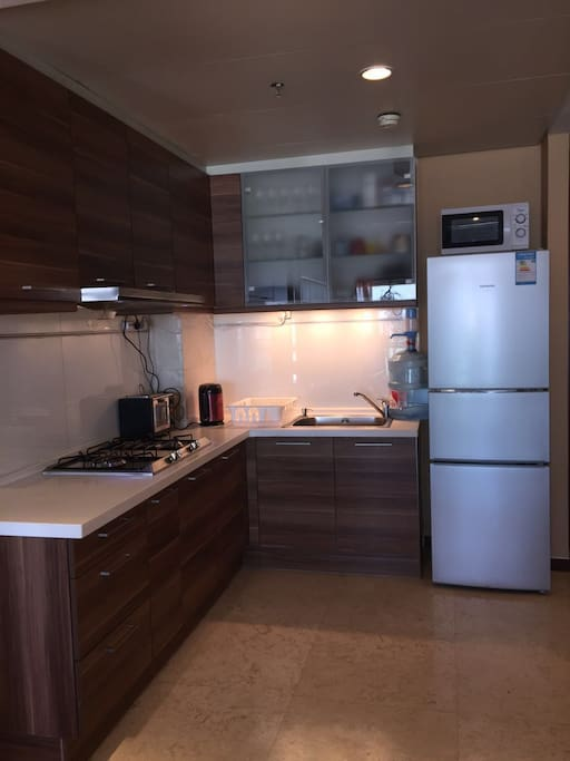 Gas stovetop, toaster oven and coffee machine