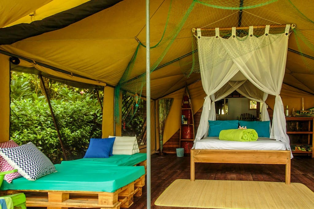 The tent's interior design is inspired by the many fishing boats passing every day