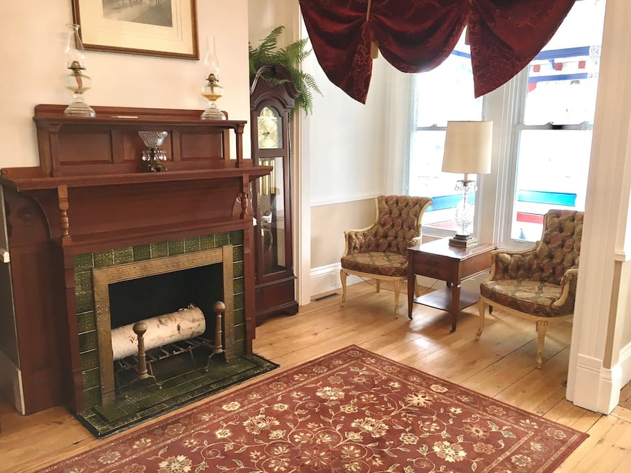 This is the lobby, the fireplace is original from 1874