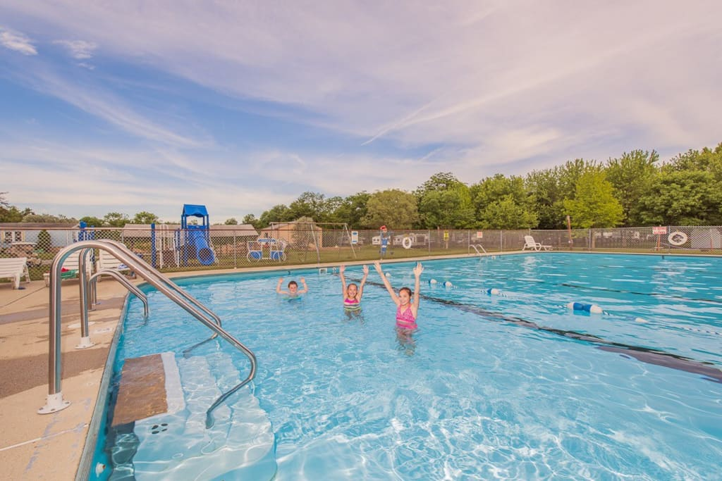 Large outdoor swimming pool open seasonally