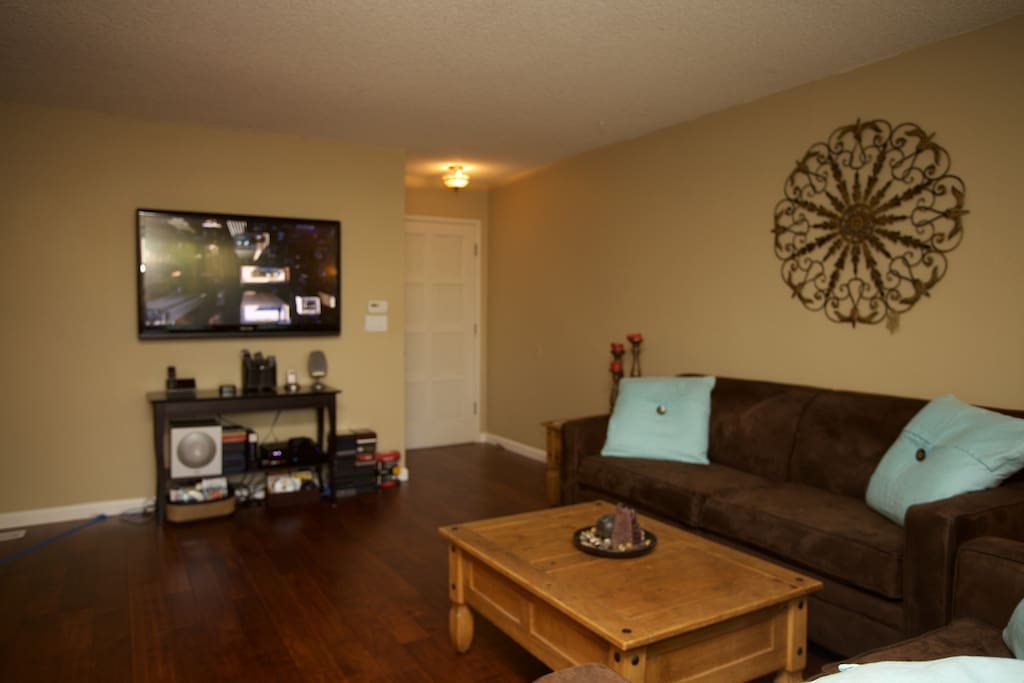 Living Room - HDTV, premium cable, AppleTV, Surround Sound, high speed internet
