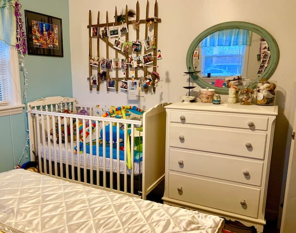 Adjustable crib and baby items available