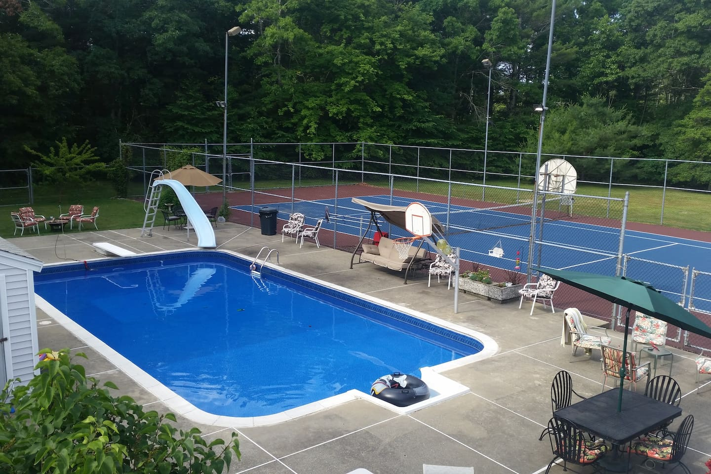 New pool liner and resurfaced tennis/Basketball court.