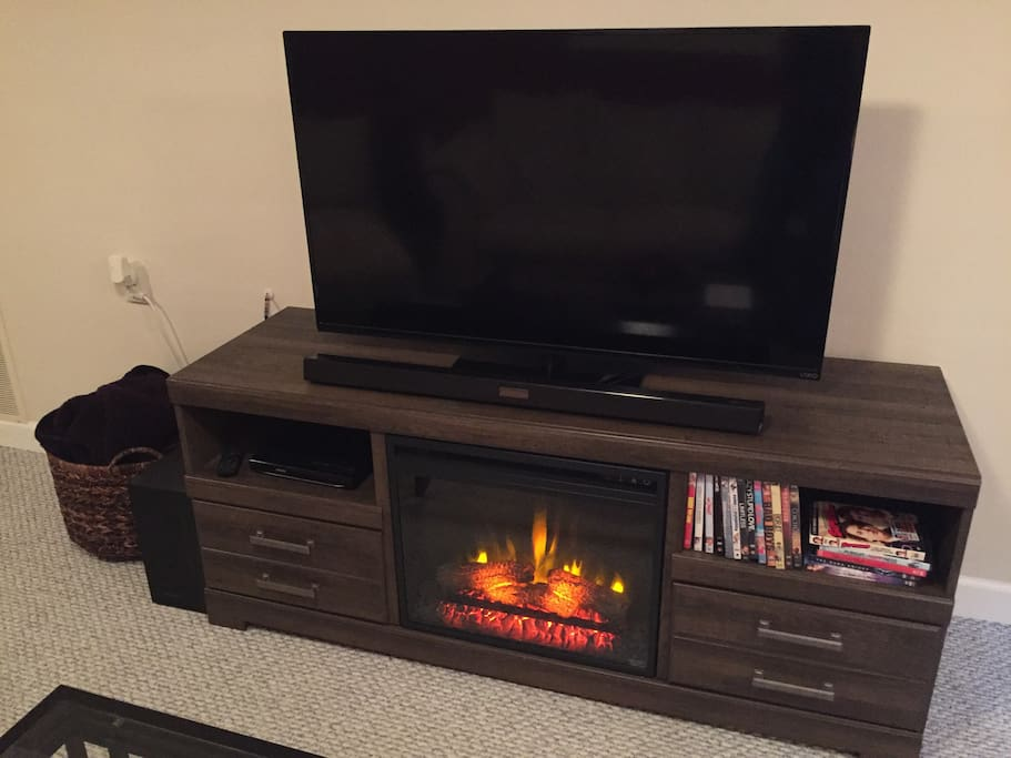 TV with warm fireplace