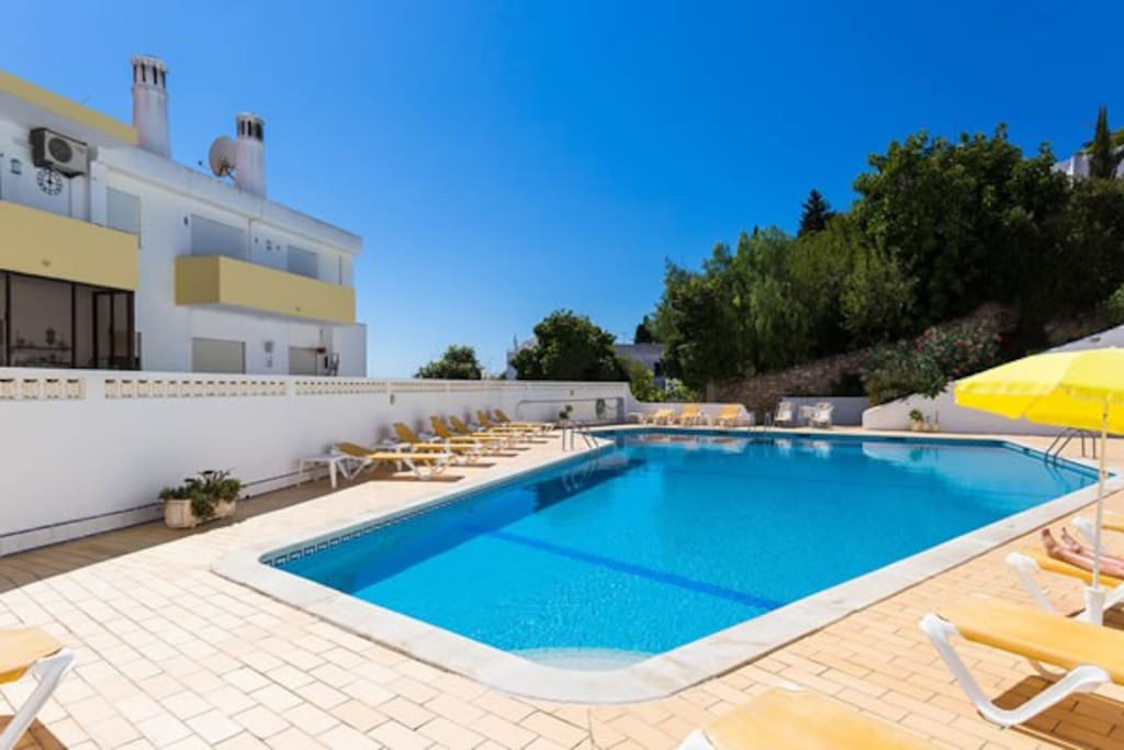 The shared pool with terrace and loungers