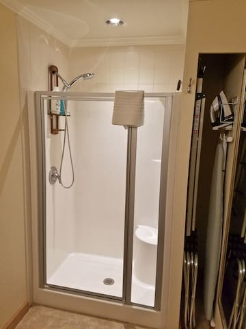 Clean and fresh shower with pull down shower head.